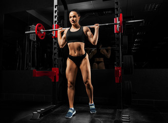 Charming girl in a gym performs an exercise with a barbell.