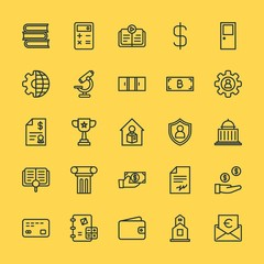 Modern Simple Set of business, money, buildings, education Vector outline Icons. Contains such Icons as  symbol,  credit,  mathematics and more on yellow background. Fully Editable. Pixel Perfect.