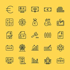 Modern Simple Set of business, money, buildings, education Vector outline Icons. Contains such Icons as  success,  teamwork,  chart,  hand and more on yellow background. Fully Editable. Pixel Perfect.