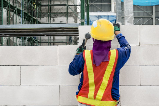 Man working masonry in site construction are worker professional about mason