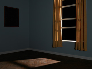 Dark window and curtains in empty room