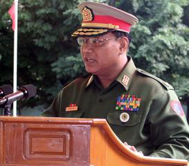 Myanmar Police General Khin Yi speaks at Drugs Destruction Ceremony in Yangon