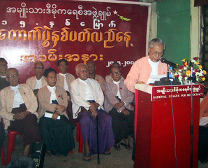 U Lwin, secretary and spokesman of the National League for Democracy, addresses a crowd in Yangon, ...