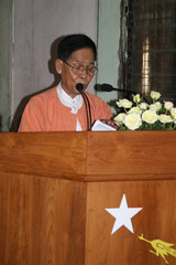 Myanmar's main opposition NLD Chairman U Aung Shwe speaks at ceremony in Yangon
