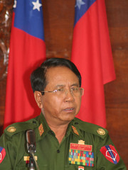 Myanmar Information Minister Brigadier General Kyaw Hsan speaks at a news conference in Hpa-An