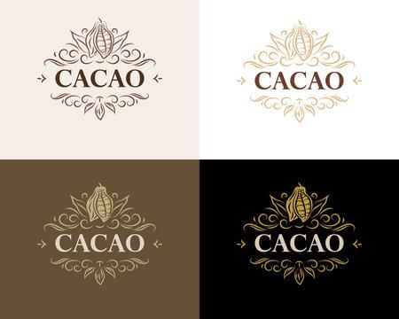 Fine flourish luxury calligraphic cacao emblem, design, template, label. Vector vintage cacao logo (symbol) for cafe, restaurant, shop, print.