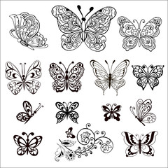 Hand drawn flowers and butterflies for the anti stress coloring page. Large Set of vector decorative butterflies.
