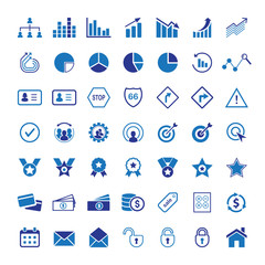 Premium flat icons, signs and symbols. Set of industry, business, finance, people.