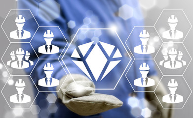 Precious Stones Mining. Brilliant Production Industry. Diamond Manufacture concept. Worker clicks on a diamond button surrounded by workers or businessman icons.