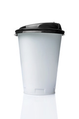 Take-out blank paper or plastic coffee cup with black cover