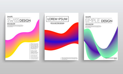 color gradient liquid cover with curved lines. abstaract design. vector background