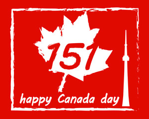 Happy Canada Day with maple leaf. Canada 151. Poster