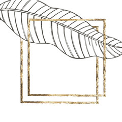 Summer tropical leaves vector design with gold frame. Floral background illustration. Invitation or card design with jungle leaves.