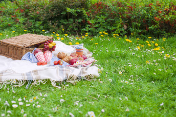 Picnic basket . Eating on green grass and plaid. Spring and vacation. Place for text