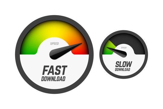 Fast and slow download speedometers, speed test