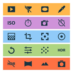Photo icons set with photographing, pattern, tune and other filtration