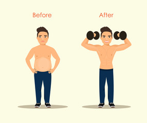 Man before and after weight loss and sports. Vector flat style  illustration