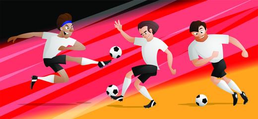 Team Germany football soccer players set kicking the ball