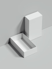 White opened rectangular box stands next to the grey wall, 3d rendering