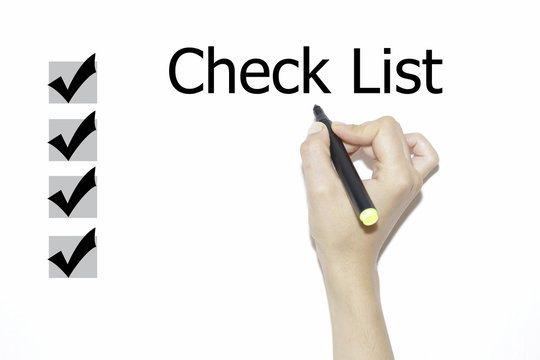 A hand with a marker writing 'Check List'.