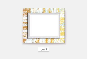 Golden marble frame on the wall. Vector illustration. Wall frame mock-up