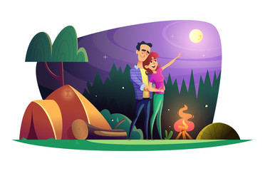 Loving couple watches the full moon and spends time outdoors. Guy and girl at the campsite.