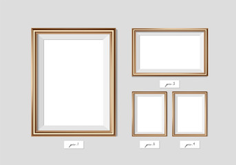 Golden frame isolated on white background. Vector illustration. Wall frame mock-up