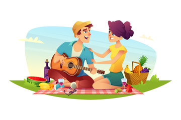 Happy couple of lovers has a picnic on nature. Design of cartoon characters.