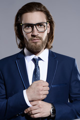 spectacled elegant man