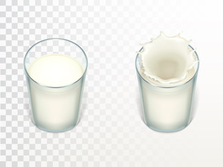 Vector glasses with milk, splashing in the glass. Mock up of farm product isolated on translucent background. Elements for advertising poster, promo banner of natural drink, template for label