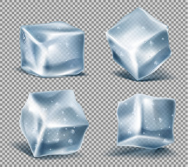 Vector set of four realistic blue ice cubes with water drops, cold, frozen blocks, isolated on transparent background. Solid icy chunks, decorative elements for advertising of refreshing drinks