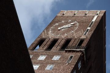 Oslo City Hall building. Clock tower.
