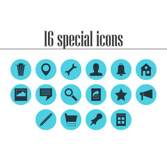 Vector illustration of 16 internet icons. Editable set of home, star, search and other icon elements.