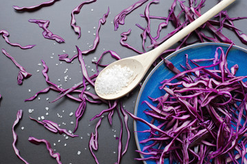 chopped red cabbage salad with sea salt