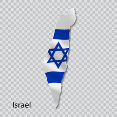 Map of Israel with national flag on transparent background.