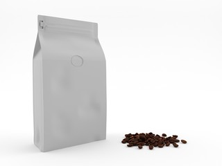 coffee package with coffee beans standing on white background. 3D render. Mock up