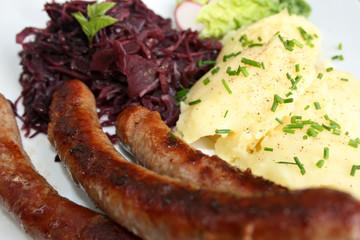 organisch, lifestyle, bratwurst, rotkohl, kartoffelbrei, wildkräuter, modern, neu