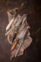 Kitchen utensils on dark background