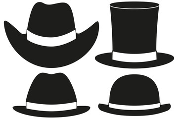 Black and white hat silhouette set 4 element