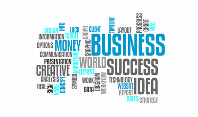 Success business idea. Web marketing word cloud concept. Typography design text block. Composition from words for web