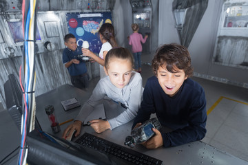 Children playing in bunker questroom