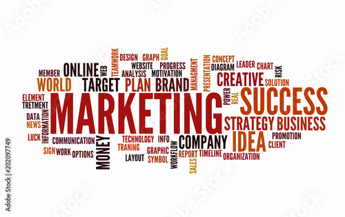 web marketing word cloud business concept typography design text