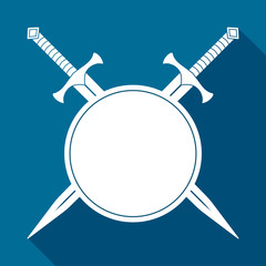 Simple, flat, white silhouette illustration of two crossed swords behind a small round shield. Casting a shadow. On blue