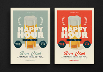 Retro Happy Hour Event Flyer Layouts
