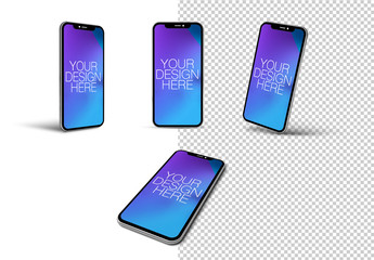 4 Smartphones on White Background Mockup