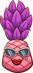 Pink cartoon pineapple with sunglasses. Vector clip art illustration with simple gradients. Some elements on separate layers.