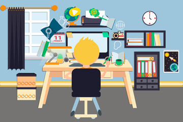 Workplace vector illustration. Student sitting in front of the Desktop pc with different office devices. Online education. Comfortable place for study