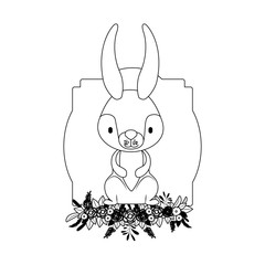cute rabbit with wreath easter celebration vector illustration design
