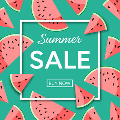 Summer sale template poster or banner with watermelon fresh slices on green background. Vector illustration