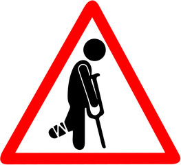 temporarily injured man in bandage with crutches warning red triangle road sign isolated on white